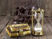 Halloween still life with creepy skull — Stock Photo