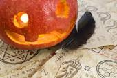 Pumpkin with magic papers — Stok fotoğraf