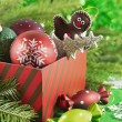 Red gift box full of Christmas and New Year toys — Stock Photo #57058489