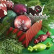 Red gift box full of Christmas and New Year toys — Stock Photo #57058687