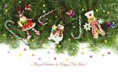 Decorations and funny figurines of snowman — Stock Photo
