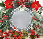 Napkin and Christmas decorations — Stock Photo