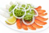 Red and white salted fish in assortment with greenery and lemon — Stok fotoğraf
