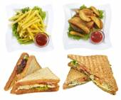 Fast food dishes set — Stock Photo