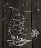 Sailing ship silhouette — Stock Photo