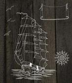 Yelken gemi silueti — Stok fotoğraf
