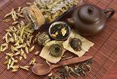 Green tea with teapot — Stockfoto