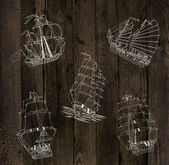 Sailing ships silhouettes — Foto Stock