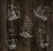 Sailing ships silhouettes — Stock Photo