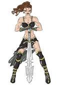 Warrior woman with  sword — Vetor de Stock
