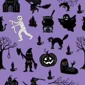 Scary Seamless Halloween set — Stock Vector