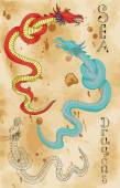 Set with sea dragons in various styles — Vector de stock
