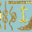 Marine set with ropes and anchor — Stock Vector #68043731