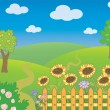Landscape with fence and sunflowers — Stock Vector #68555183