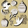 Set with vintage bird cages and birds — Stock vektor #69892741