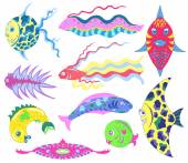 Various exotic fish — Stock Vector