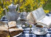 Cake and tea set in  spring garden — Stockfoto