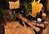 Voodoo theme with love potion — Stock Photo