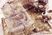 复古静物与包装的礼品 — 图库照片