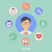 Doctor, character illustration, icons. Vector flat style — Stock Vector