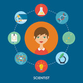 Scientist vector character, education icons. Flat style — Vector de stock