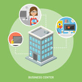 Business center isometric building, flat icons, stylish background — Stock Vector