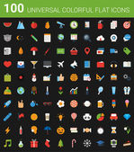 100 universal colorful flat icons — Vetorial Stock