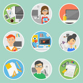 Set of icons for web and business - workplaces with people, flat style — Stock Vector