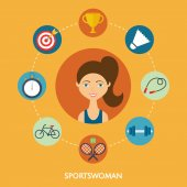 Sportswoman, vector character, sport icons. Flat style — Stock Vector