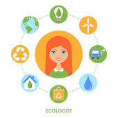 Ecologist, character illustration, icons. Vector flat style — Stock Vector
