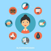 Businesswoman, vector character, business icons. Flat style — Stock Vector