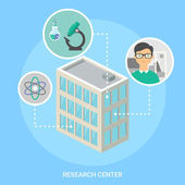 Research Center isometric building, flat icons — Stock Vector