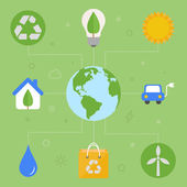 Ecology concept, flat icons, vector illustration — Vector de stock