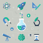 Science concept, flat icons, vector illustration — Stock Vector