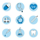 Medical icons set, outline style — Stock Vector