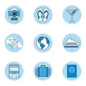 Set d'icônes de voyage, style de contour — Vecteur