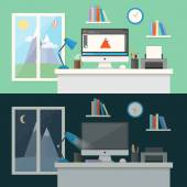 Workday, workspace and workplace concepts for web, management, infographic, development, design. Flat design style modern vector illustration. — Stock Vector