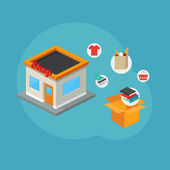 Online shopping and e-commerce concept. Isometric style, vector illustration — Stock Vector