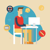 Vector illustration of a designer sitting at the desk and working on computer in the office. Flat style — Stock Vector