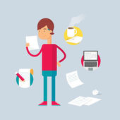 Character - writer. Vector illustration, flat style — Stock Vector