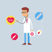 Character - doctor, medical concept. Vector illustration, flat style — Vector de stock