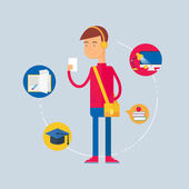 Character - student, education concept. Vector illustration, flat style — Stock Vector