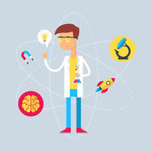 Character - scientist. Vector illustration, flat style — Stock Vector