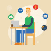 Vector illustration of a programmer sitting at the desk and working on laptop in the office. Flat style — Stock Vector