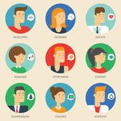 Set of avatars: designer, teacher, scientist, sportsman, businessman, student, developer, manager, doctor. Vector illustration, flat icons. Characters for web — Stock Vector