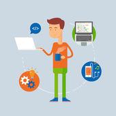 Character - programmer, web development concept. Vector illustration, flat style — Stock Vector