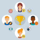 Sport concept - collaboration of professionals. Vector illustration, flat style — Stockvector