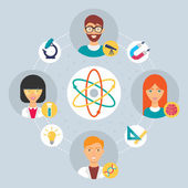 Science concept - collaboration of professionals. Vector illustration, flat style — Stock Vector