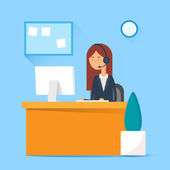 Call center operator sitting at the table in the office. Vector illustration, flat style — Stock Vector