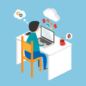 Illustration of a programmer sitting at the desk and working on the laptop, isometric style — Stock Vector